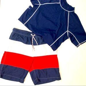 Lands End Boy's Swim Trunks & Rash Guard Shirt Set